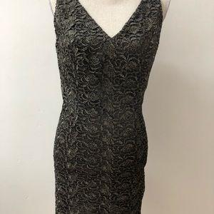 Carmen Marc Valvo bronze lace sheath,6,lined, GORG